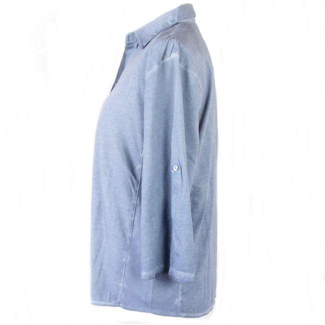 HS Mode Damen Bluse Shirtbluse 3/4 Arm blaugrau oilwashed Baumwolle 34626  – Bild 2