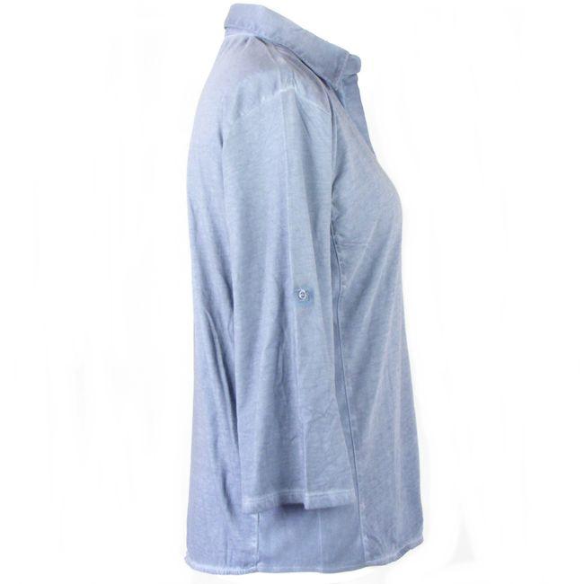 HS Mode Damen Bluse Shirtbluse 3/4 Arm blaugrau oilwashed Baumwolle 34626  – Bild 4