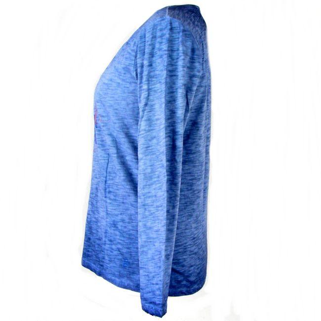 Pioneer Damen Langarm Shirt rauchblau mit Druck Baumwolle 34747 Oil Dyed Effekt – Bild 2