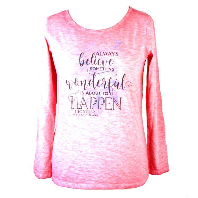 Pioneer Damen Shirt langarm 100% Baumwolle berry rosa maschinenwaschbar 34775 – Bild 1