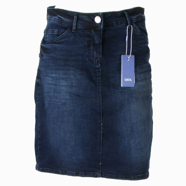 Cecil Damen Denim Rock blau (blue black) washed look A-Linie 34780 – Bild 1