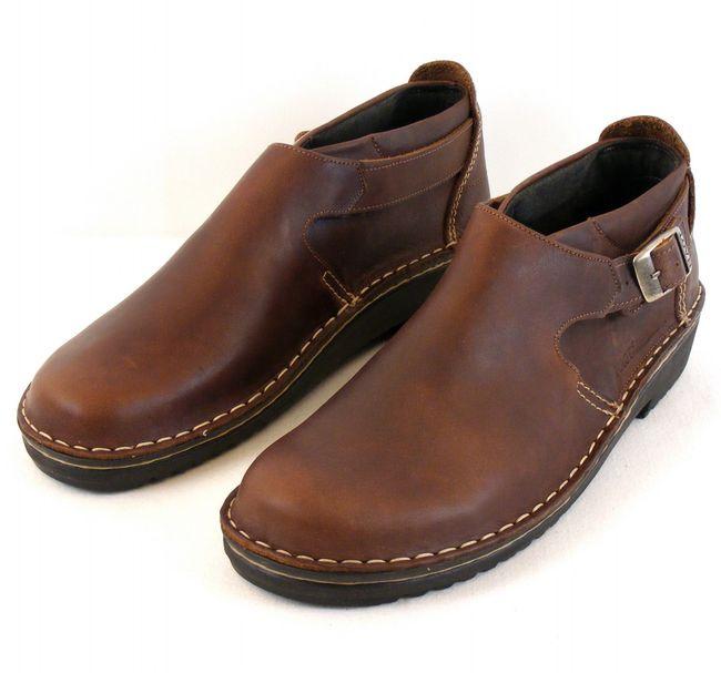 Naot Damen Schuhe Halbschuhe Leder Malta braun 7642 Wechselfußbett Schnalle