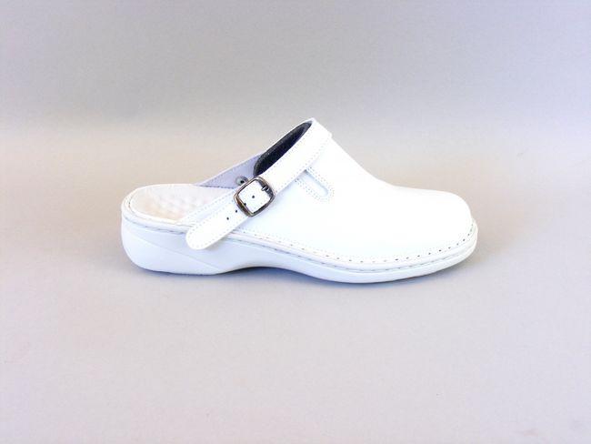 Stuppy Damen Schuhe Pantoletten Clogs Leder weiß 8793 Fersenriemen umlegbar  – Bild 4