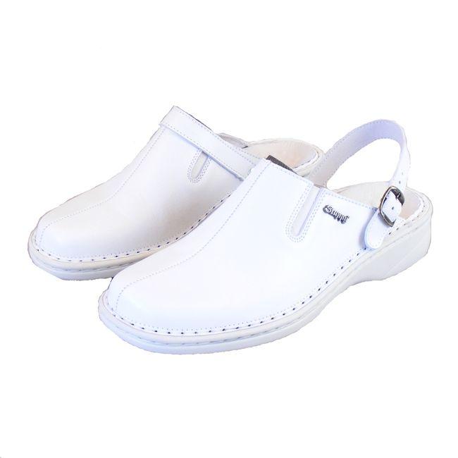 Stuppy Damen Schuhe Pantoletten Clogs Leder weiß 8793 Fersenriemen umlegbar