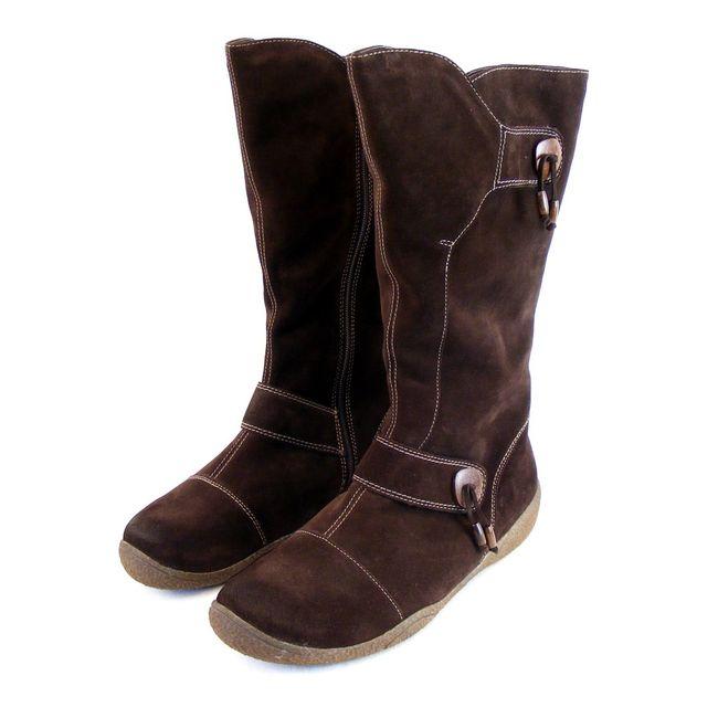 Theresia M. Damen Schuhe Stiefel Velourleder braun 8912 Reißverschluss lang – Bild 1