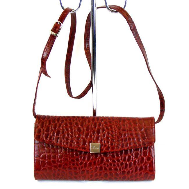Pavini Damen Tasche Abendtasche Croco Echt Leder rot 9276 Trageriemen abnehmbar – Bild 1