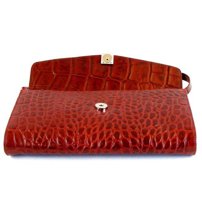 Pavini Damen Tasche Abendtasche Croco Echt Leder rot 9276 Trageriemen abnehmbar – Bild 5