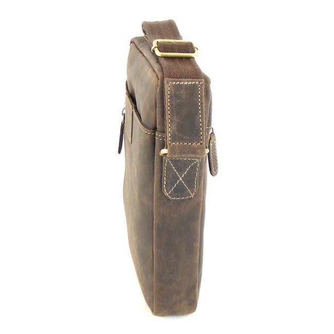HGL Damen Tasche Crossovertasche Echt-Leder braun 9371 Reißverschluss RV-Fach – Bild 2