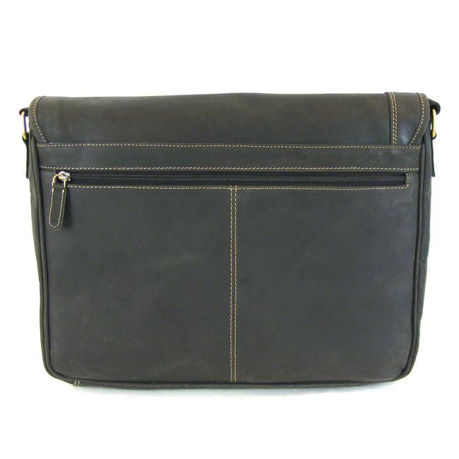 HGL Damen Tasche Überschlagtasche Echt-Leder schwarz 9376 Reißverschluss RV-Fach – Bild 3