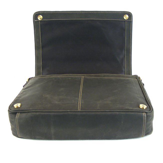 HGL Damen Tasche Überschlagtasche Echt-Leder schwarz 9376 Reißverschluss RV-Fach – Bild 5