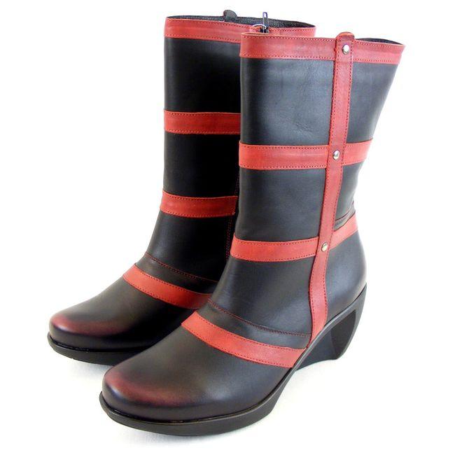 Naot Damen Schuhe Stiefel Moon Leder schwarz/rot 9496 Fußbett Reißverschluss – Bild 1