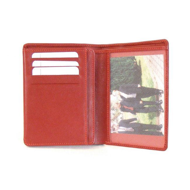 HGL Dokumenten Etui Hochformat echt Leder rot 9754 Kreditkartenfächer Scheinfach – Bild 3