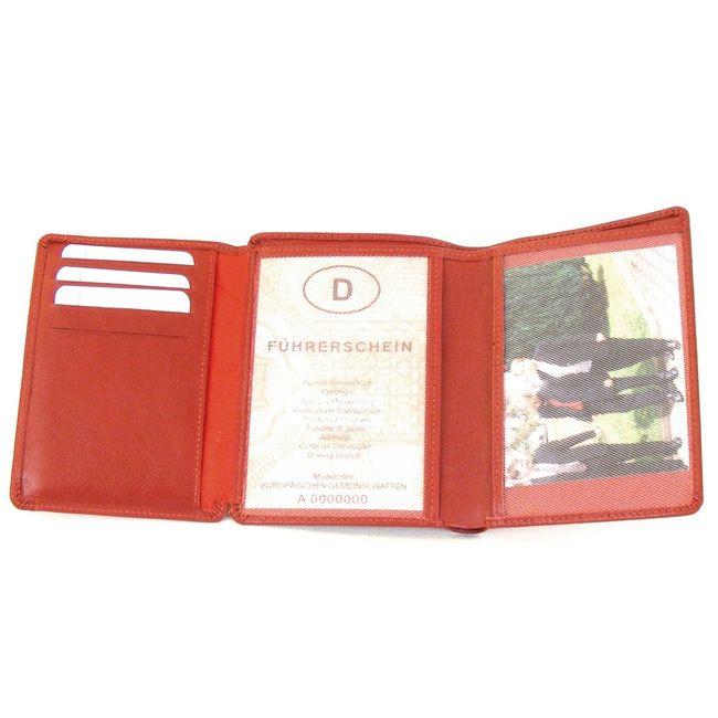 HGL Dokumenten Etui Hochformat echt Leder rot 9754 Kreditkartenfächer Scheinfach – Bild 4