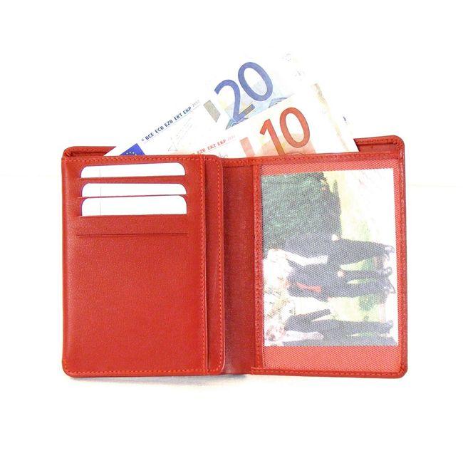HGL Dokumenten Etui Hochformat echt Leder rot 9754 Kreditkartenfächer Scheinfach – Bild 5