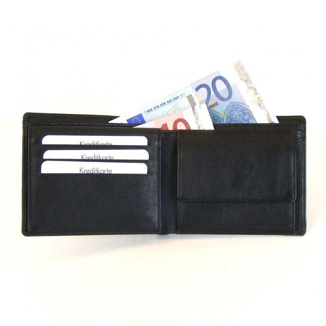 HGL Herren Geldbörse Querformat echt Leder schwarz 9759 Geheimfach neu  – Bild 3