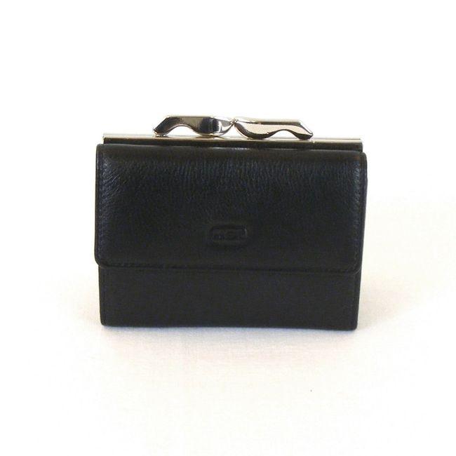 HGL Damen Geldbörse Bügelbörse echt Leder schwarz 9771 Kreditkartenfächer – Bild 1