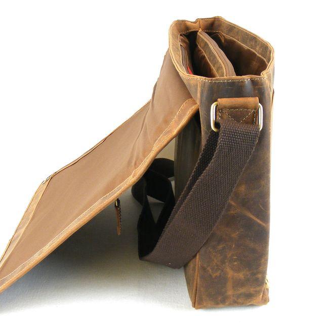 HGL Damen Tasche Überschlagtasche Echt-Leder natur 9820 Reißverschluss RV-Fach – Bild 4