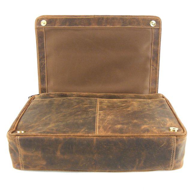 HGL Damen Tasche Überschlagtasche Echt-Leder natur 9820 Reißverschluss RV-Fach – Bild 5