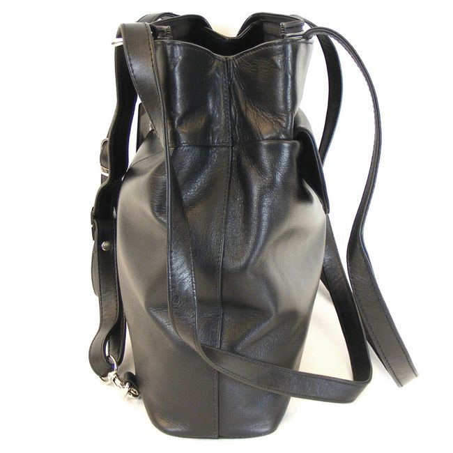 Pavini Damen Tasche Rucksack Classics echt Leder schwarz 9850 Cityrucksack  – Bild 4