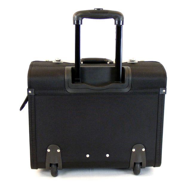 """Dermata Pilotenkoffer mit Fächern Laptoptasche 15"""" Nylon schwarz 9893 Trolley – Bild 3"""