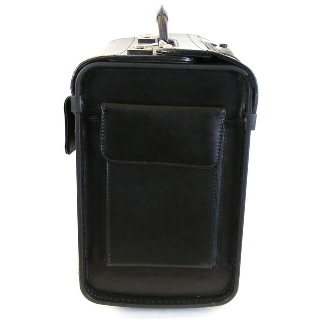 """Dermata Pilotenkoffer mit Fächern Laptoptasche 15"""" Echt-Leder schwarz 9930 – Bild 2"""