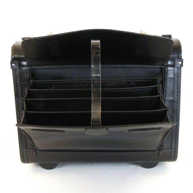"""Dermata Pilotenkoffer mit Fächern Laptoptasche 15"""" Echt-Leder schwarz 9930 – Bild 5"""