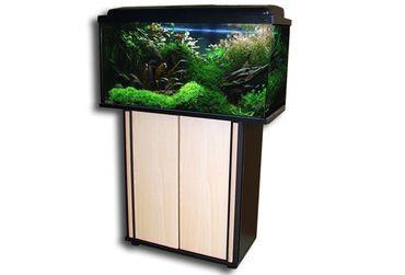 Aquarium Kombination 80x35x40 cm 112 Liter Esche-Schwarz – Bild 1