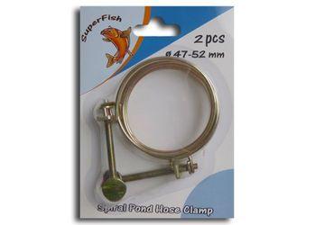 1x 2 Spiral Schlauchklemmen 47-52 mm Teichfilter Pumpe etc.