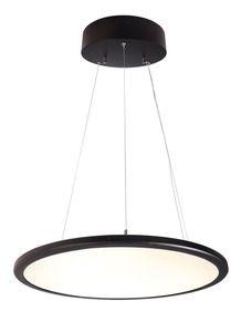 Exklusive Pendelleuchte, LED Panel transparent rund, Rahmen schwarz, 3000K, 5100 Lumen