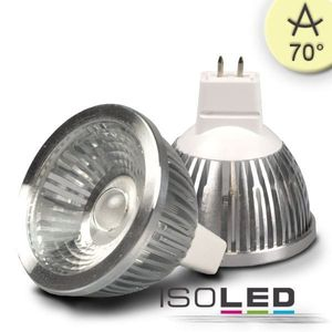 ISOLED LED Leuchtmittel MR16, 5,5W COB, warmweiß, dim., 70°, A+, 2700K, 390lm, CRI:83
