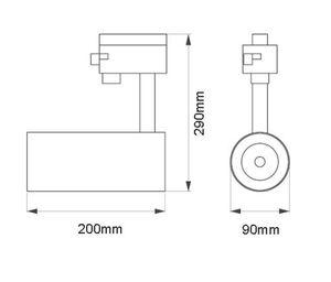 TRACK LED 3-Phasen-Strahler schwarz aus Aluminium 30W 4000k neutralweiß 3200 Lumen CRI/Ra >90