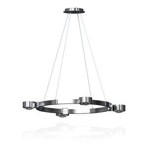 "LED Ringleuchte ""Puk Maxx Crown M"", TopLight Kronleuchter, 4 Leuchtköpfe je 24W, 2800K, 7200lm, chrom/Farbwahl, dimm-/drehbar, direktes&indirektes Licht, Kopf Ø120mm"