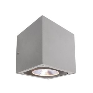 Außen LED up and down Wandleuchte Cubodo II Double SG, LED warmweiß 14W, silber