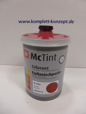 McTint Colorant Farbe Farbmischpaste R 254 / J405971L Abtönfarbe feuerrot 1 Lit – Bild 1