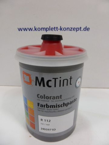 McTint Colorant Farbe Farbmischpaste R 112 / J405971D Abtönfarbe rot 1 Liter – Bild 1