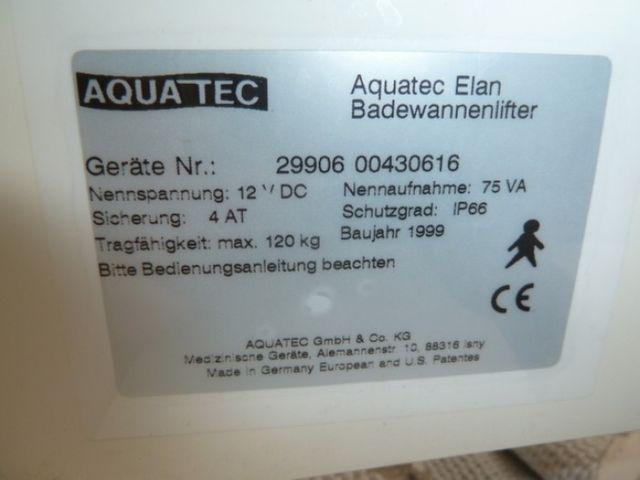 Aquatec Elan Badewannenlifter Lifter Hebehilfe – Bild 8