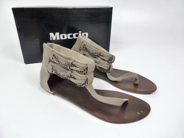 Moccio Carano Sandale Sandalette Taupe Wildleder Made in Italy 69,95 €