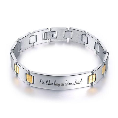 Edelstahl Armkette Edelstahlarmband Armband Gravurplatte mit Wunschgravur – Bild 1