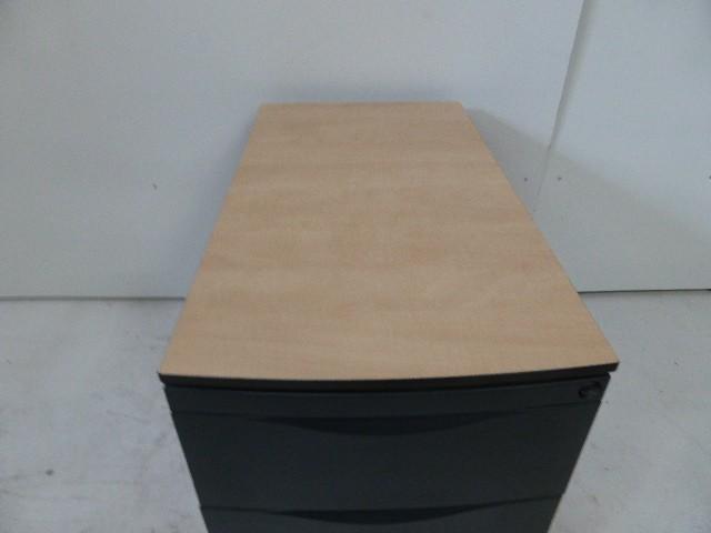 Rollcontainer Bürocontainer Korpus Metall Rot Holzabdeckplatte 1. – Bild 2