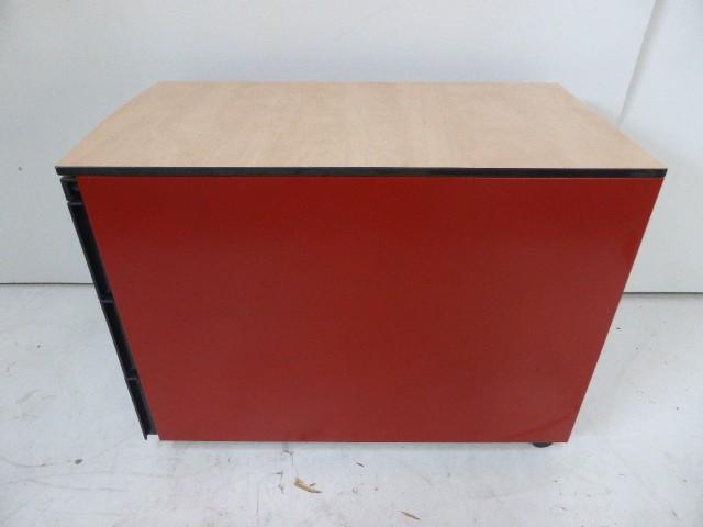 Rollcontainer Bürocontainer Korpus Metall Rot Holzabdeckplatte 1. – Bild 3