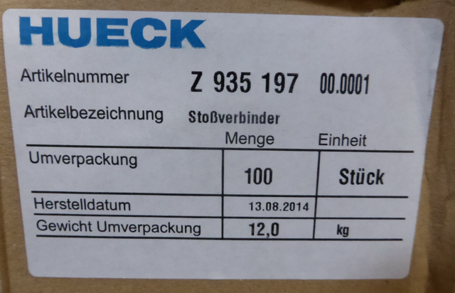 50x Stück Hueck Z 935 197 00.0001 Z935197 Stoßverbinder 935197  – Bild 5