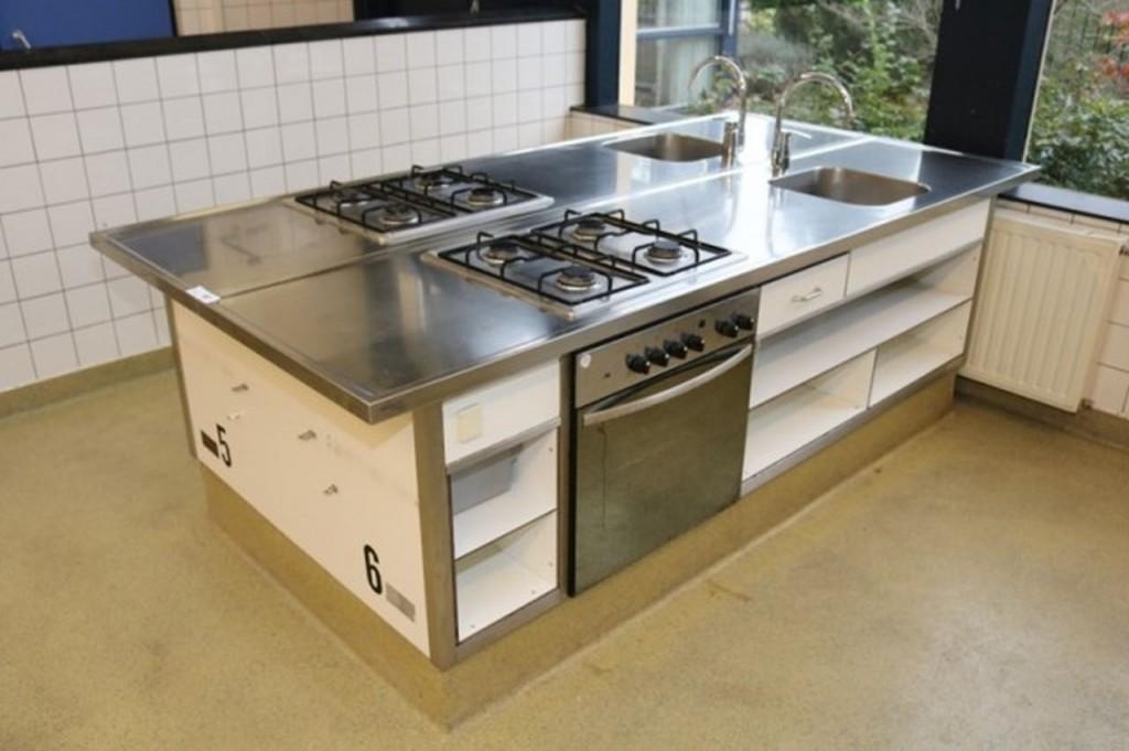 Edelstahl Kochzeile Küche Küchenblock Küchenzeile m. Gasherd ...