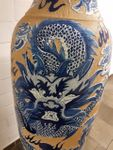 Chinesische Vase 206cm Handarbeit Traumhaft m. Sockel blau China-Vase 007