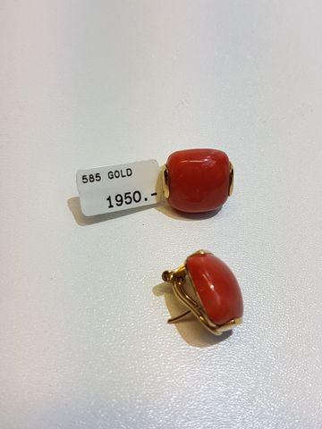 CLIPS mit KORALLE 585er Gelbgold Ohrringe UVP*1.950,- ❤ NEU ❤ GESCHENK-IDEE rar – Bild 2