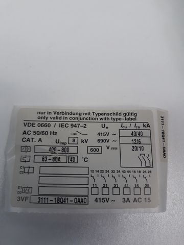 Siemens Leistungsschalter Circuit Breaker 3VF3111 1BQ41 0AA0 3VF3111-1BQ41-0AA0 – Bild 8