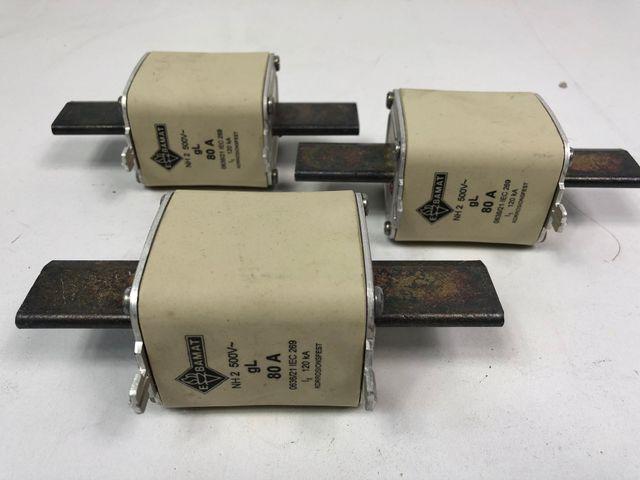 3x Ebamat Sicherung 80A NH2 500V 120 kA – Bild 1