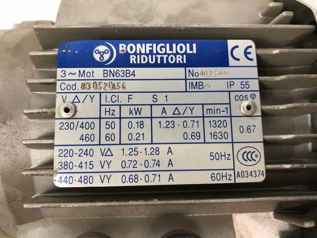 Bonfiglioli BN63B4 Getriebemotor + VF49 V P63B14 Schneckengetriebe – Bild 4