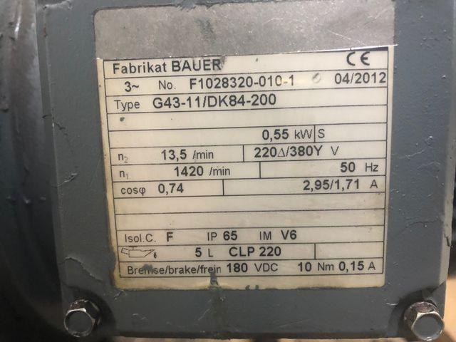 Bauer G43-11/DK84-200 Getriebemotor Elektromotor 230/380V 0,55 kW 1420 U/min – Bild 5