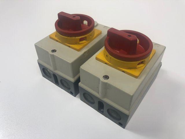 2x Gehäuse Schalter rot/gelb Hauptschalter Starkstrom – Bild 2