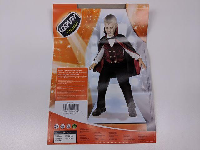 Cosplay Creation Dracula Kostüm Weste, Cape, Hose Halloween schwarz/rot 110cm – Bild 4